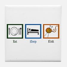 Eat Sleep Knit Tile Coaster