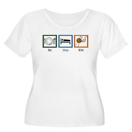 Eat Sleep Knit Women's Plus Size Scoop Neck T-Shir