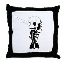 Skeleton Narwhal Throw Pillow
