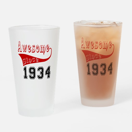 Awesome Since 1934 Birthday Designs Drinking Glass