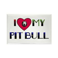 I LOVE MY PIT BULL Rectangle Magnet (100 pack)