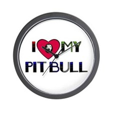 I LOVE MY PIT BULL Wall Clock