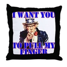 Pull My Finger Uncle Sam Throw Pillow