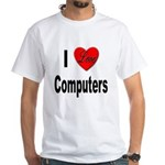 I Love Computers (Front) White T-Shirt
