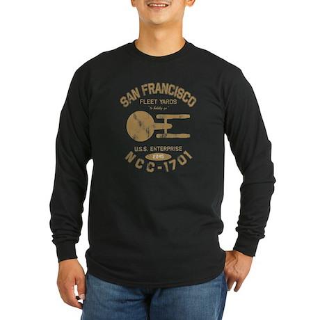 Fleet Yards (worn look) Long Sleeve Dark T-Shirt