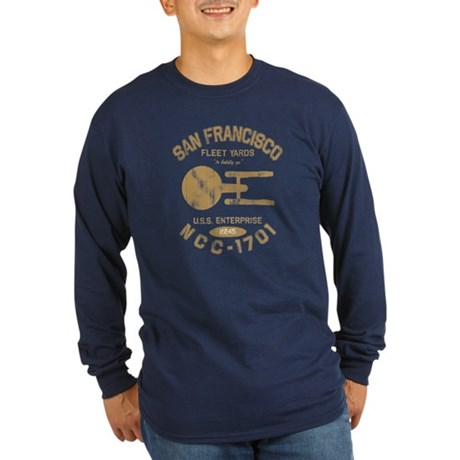 Fleet Yards (worn look) Long Sleeve Dark T-Shirt