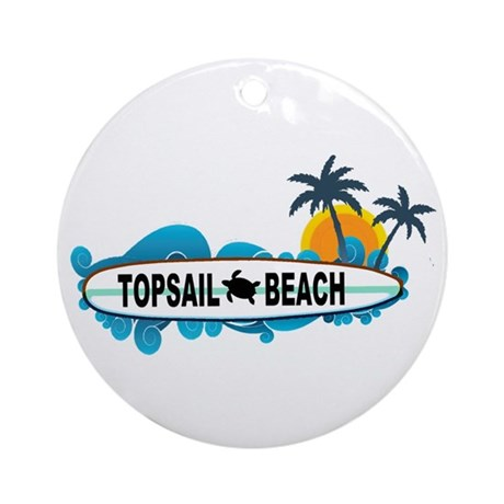 Topsail Beach NC - Surf Design Ornament (Round)
