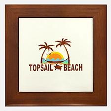 Topsail Beach - Palm Trees Design Framed Tile