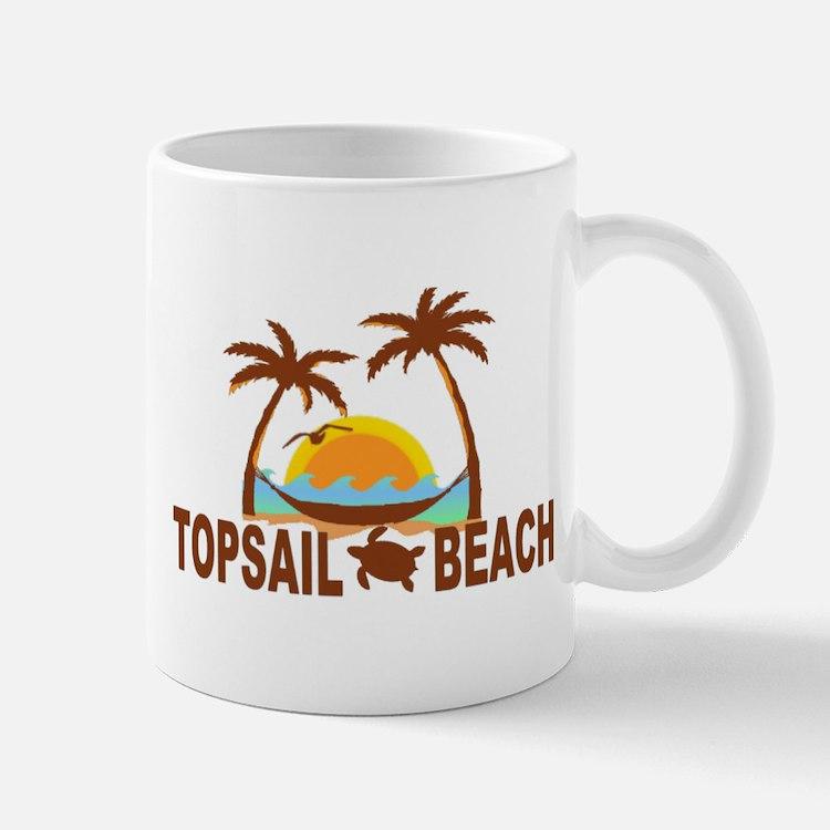 Topsail Beach - Palm Trees Design Mug