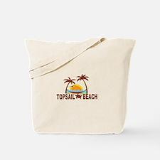 Topsail Beach - Palm Trees Design Tote Bag