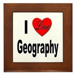 I Love Geography Framed Tile