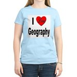 I Love Geography (Front) Women's Pink T-Shirt