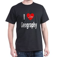 I Love Geography (Front) Black T-Shirt