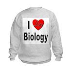 I Love Biology (Front) Kids Sweatshirt