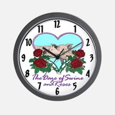 """THE DAZE OF SWINE AND ROSES"" Wall Clock"