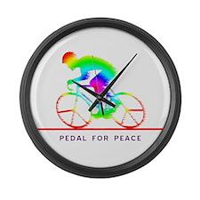 Funny Bike race Large Wall Clock