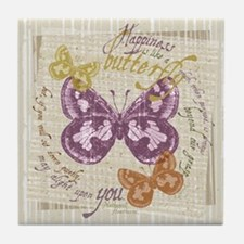 Vintage Butterflies Tile Coaster
