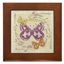 Vintage Butterflies Framed Tile