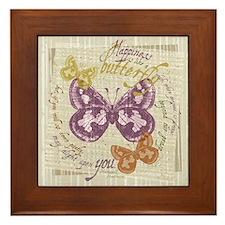 Vintage Butterflies Framed Tile