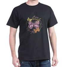 Vintage Butterflies Black T-Shirt