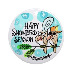 Christmas snowbird ornament (round)
