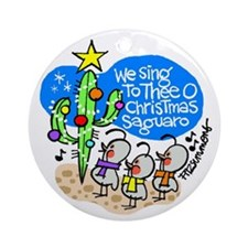 Christmas saguaro ornament (round)