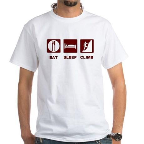 eat sleep climb White T-Shirt