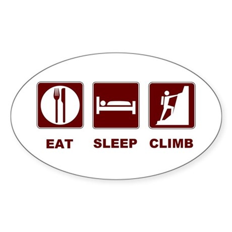 eat sleep climb Sticker (Oval 10 pk)