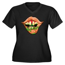 Goober Mouth Women's Plus Size V-Neck Dark T-Shirt
