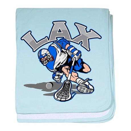 Lacrosse Player In Blue baby blanket