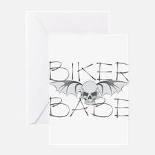 Bat Skull Biker Babe Greeting Card