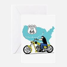 Route 66 Biker Greeting Card