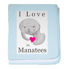 I Love Manatees Infant Blanket