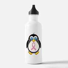 Pink Ribbon Penguin Awareness Water Bottle