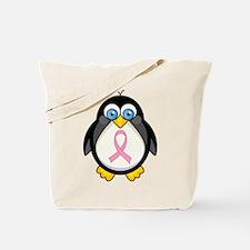 Pink Ribbon Penguin Awareness Tote Bag