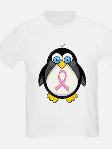 Pink Ribbon Penguin Awareness T-Shirt