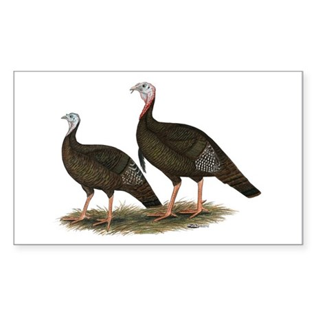 Eastern Wild Turkeys Sticker (Rectangle)