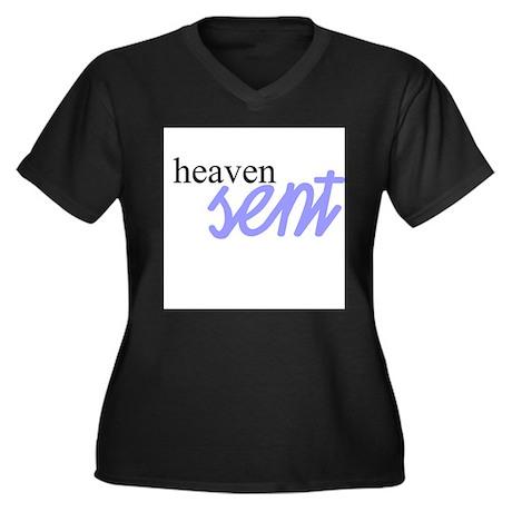 Heaven Sent Women's Plus Size V-Neck Dark T-Shirt