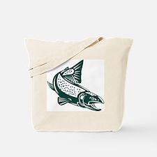 trout fish jumping Tote Bag