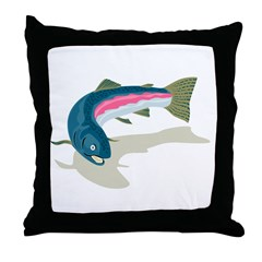 trout fish swimming Throw Pillow