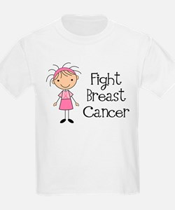 Stick Figure Fight Breast Cancer T-Shirt