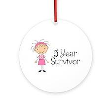 5 Yr Survivor Breast Cancer Ornament (Round)