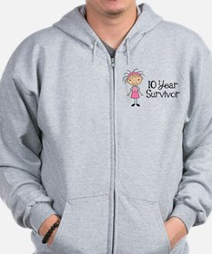 10 Year Survivor Breast Cancer Zip Hoodie