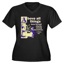 Above All Charity Women's Plus Size V-Neck Dark T-