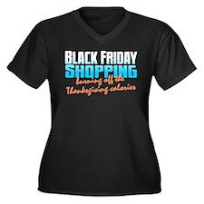 Black Friday Women's Plus Size V-Neck Dark T-Shirt