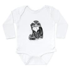 Beautiful Blue Eyed Cat Long Sleeve Infant Bodysui