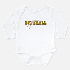 Softball Long Sleeve Infant Bodysuit