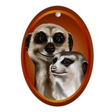 Two Cozy Meerkats Ornament (Oval)
