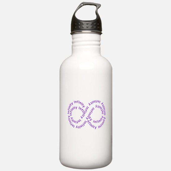 Purple Text Infinity Water Bottle