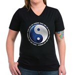 Taoism Ying Yang Women's V-Neck Dark T-Shirt